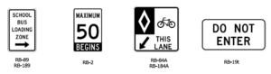 Guelph regulatory traffic signs