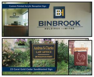 Acrylic and Sand Blasted Reception Signs