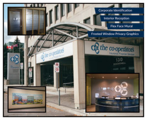 Co-Operators Signs, Etched Film on Glass, Flex Face Mural, Reception & Brand Identification